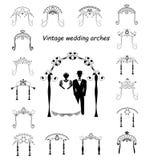 Reeks van uitstekende grafische Chuppah Boog voor een godsdienstig Joods Joods huwelijk De bruid en de bruidegom onder een luifel Stock Fotografie