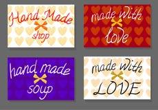 Reeks van uitstekende kaart Hand - gemaakte winkel, hand - gemaakte soep, hand - die met liefde wordt gemaakt VECTOR met de hand  vector illustratie