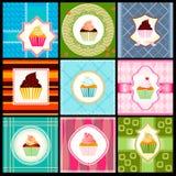 Reeks van uitstekende kaart met cupcakes Royalty-vrije Stock Afbeeldingen
