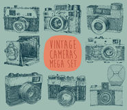 Reeks van Uitstekende, Retro, Oude Camera, Getrokken Hand Stock Fotografie
