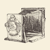 Reeks van Uitstekende, Retro, Oude Camera, Getrokken Hand Stock Afbeelding