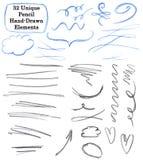 Reeks van 32 Unieke elementen van de potloodtekening: bloei, slagen, lijnen, pijlen, tekens, tekstgebieden, kader vector illustratie