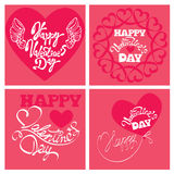Reeks van 4 Vakantiekaarten - hart en kalligrafisch Stock Foto's