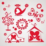 Reeks van Valentine-dag Stock Afbeeldingen