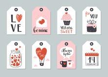 Reeks van Valentine-het malplaatje van de dagmarkering Royalty-vrije Stock Afbeelding