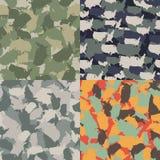 Reeks van van de vormcamo van de V.S. het naadloze patroon De kleurrijke stedelijke camouflage van Amerika Het vectorontwerp van  Stock Afbeelding