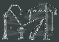 Reeks van van het de kraan chalkbaord bord van de bouwmachine vector i Stock Afbeelding