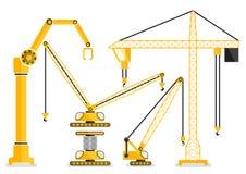 Reeks van van het de kraan vlakke ontwerp van de bouwmachine gele vectorillu Royalty-vrije Stock Foto's