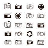 Reeks van van het van de fotocamera, lens en diafragma pictogrammen zwarte kleur Stock Afbeelding