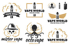 Reeks van vape, e-sigaret embleem Stock Afbeeldingen