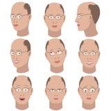 Reeks van variatie van emoties van dezelfde kale kerel met glazen Stock Foto's