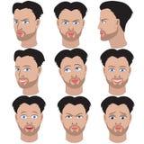 Reeks van variatie van emoties van dezelfde man met baard Stock Foto