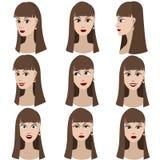 Reeks van variatie van emoties van hetzelfde meisje Stock Foto's