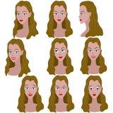 Reeks van variatie van emoties van hetzelfde meisje met bruin haar Stock Afbeelding