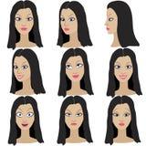 Reeks van variatie van emoties van hetzelfde meisje met zwart haar Royalty-vrije Stock Afbeelding