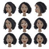 Reeks van variatie van emoties van hetzelfde zwarte meisje Stock Afbeeldingen