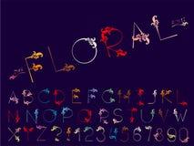 Reeks van vector abstract doopvont en alfabet royalty-vrije illustratie