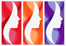 Reeks van vector abstracte achtergrond met het gezichtssilhouet van de vrouw Royalty-vrije Stock Fotografie