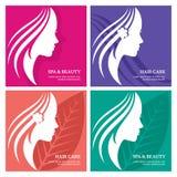 Reeks van vector abstracte achtergrond met mooi vrouwengezicht silh Stock Afbeelding