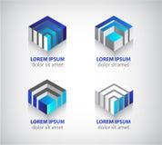 Reeks van vector abstracte kleurrijke geometrische 3d kubus Stock Afbeelding