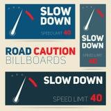 Reeks van vector de aanplakbordenontwerp van de wegvoorzichtigheid Maximum snelheidteken B stock illustratie