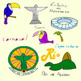 Reeks van vector diverse gestileerde kleurenillustratie van Rio de Janeiro Royalty-vrije Stock Foto's