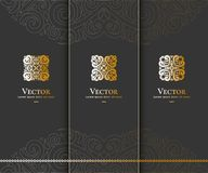 Reeks van vector gouden embleem op een zwarte achtergrond royalty-vrije illustratie