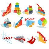 Reeks van vector isometrische infographic grafiek, diagrammen, histogrammen, pijlen van diverse types vector illustratie