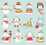 Reeks van 11 vector leuke en grappige sneeuwmannen Stock Fotografie