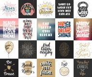 Reeks van 20 vector motieven en inspirational van letters voorziende affiches, groetkaarten, decoratie, drukken, t-shirtontwerp stock fotografie