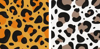 Reeks van Vector Naadloos met Verschillende Luipaard` s Huid Royalty-vrije Stock Afbeeldingen