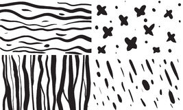 Reeks van 4 vector naadloze patronen in zwarte Stock Afbeelding