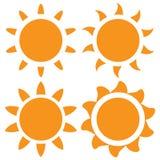 Reeks van vector oranje zon Royalty-vrije Stock Fotografie