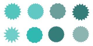 Reeks van vector starburst, zonnestraalkentekens Uitstekende etiketten Gekleurde Stickers Een inzameling van verschillend types e Royalty-vrije Stock Foto