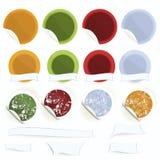 Reeks-van-vector-sticker-met-chef-kok-hoed-en-appel Royalty-vrije Stock Fotografie