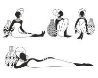 Reeks van vector van Afrikaanse vrouwen vector illustratie