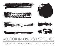 Reeks van Vector Zwart Pen Ink Brush Strokes De Borstel Stro van de Grungeinkt Stock Foto's