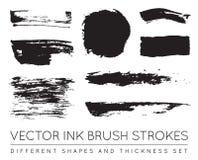 Reeks van Vector Zwart Pen Ink Brush Strokes De Borstel Stro van de Grungeinkt Stock Fotografie