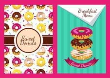Reeks van vectorachtergrond en naadloos patroon met donuts Royalty-vrije Stock Afbeelding