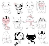 Reeks van 12 Vectoravatars van krabbel leuke katten vector illustratie