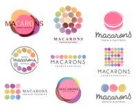 Reeks van vectorembleem macaron voor winkel, boutique, opslag stock illustratie