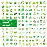 Reeks van vectoremblemenecologie, natuurlijke gezondheid, Royalty-vrije Stock Foto's