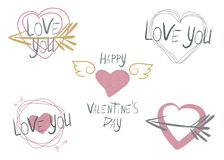 Reeks van 5 vectorillustraties op het thema van de Dag van Valentine royalty-vrije illustratie