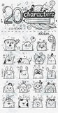 Reeks van 20 vectorkarakters van het krabbel hand-drawn beeldverhaal Royalty-vrije Stock Afbeeldingen