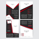 Reeks van Vectorontwerp van de zwarte en rode vliegers, dekking, brochure, affiche, rapport met plaatsen voor beelden Stock Afbeelding