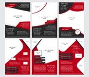 Reeks van Vectorontwerp van de zwarte en rode vliegers, dekking, brochure, affiche, rapport met plaatsen voor beelden Royalty-vrije Stock Afbeelding