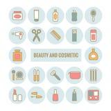 Reeks van vectoroverzichtsschoonheid en kosmetisch pictogram Royalty-vrije Stock Afbeeldingen
