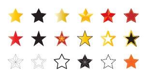 Reeks van 18 vectorpictogrammen van kleurrijke sterren Rood, gouden, zwart, coontour vector illustratie