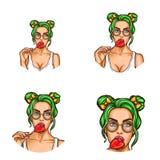Reeks van vectorpop-art om avatar pictogrammen voor gebruikers van sociaal voorzien van een netwerk, bloggen, profielpictogrammen royalty-vrije illustratie