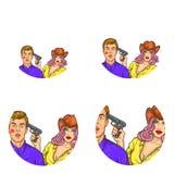 Reeks van vectorpop-art om avatar pictogrammen voor gebruikers van sociaal voorzien van een netwerk, bloggen, profielpictogrammen vector illustratie